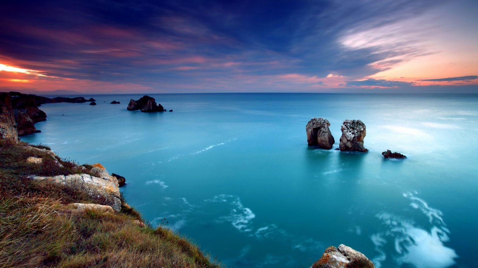 lovely sunsetlandscape nature ocean peaceful Sea